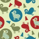 Nahtloses Design der Weihnachtsbaum-Musterschafe Stockfotografie