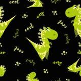 Nahtloses Dinosauriermuster Tierischer schwarzer Hintergrund mit grünem Dino Auch im corel abgehobenen Betrag vektor abbildung