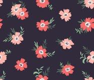 Nahtloses ditsy mit Blumenmuster des modischen Vektors Gewebedesign mit einfachen Blumen auf dem dunklen Hintergrund Stockbild