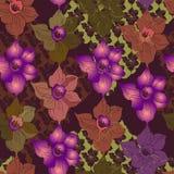Nahtloses Druckmuster mit Schattenbildern von Blumennarzissen stockfotos