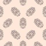 Nahtloses einfaches Muster Hawaii-tiki Maske lizenzfreie abbildung