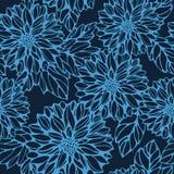 Nahtloses einfarbiges Muster mit Dahlie und Blättern Stockbild