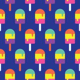 Nahtloses Eis am Stiel-Muster bunt, Süßigkeits-Vektor Lizenzfreies Stockfoto