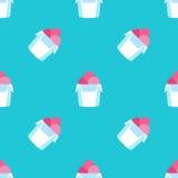 Nahtloses Eiscrememuster auf blauer Hintergrundbeschaffenheit Lizenzfreie Stockfotografie
