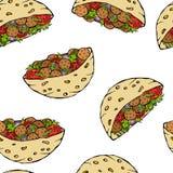 Nahtloses endloses Muster mit Falafel-Pittabrot oder Fleischklöschen-Salat im Taschen-Brot Arabischer Israel Healthy Fast Food Ba Lizenzfreie Stockfotos
