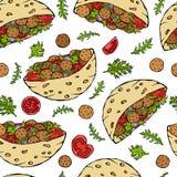 Nahtloses endloses Muster mit Falafel-Pittabrot oder Fleischklöschen-Salat im Taschen-Brot Arabischer Israel Healthy Fast Food Ba Stockfoto