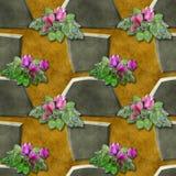 Nahtloses Entlastungsmuster von grauen Steinen und von rosa Blumen Stockfoto