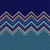 Nahtloses ethnisches geometrisches gestricktes Muster Art blaues gelbes Gre Stockbild