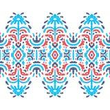 Nahtloses ethnisches Muster Blaue und rote Elemente auf weißem backgrou lizenzfreie abbildung