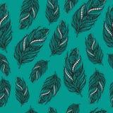 Nahtloses ethnisches Muster von schönen Federn Stockbild