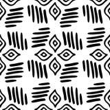 Nahtloses ethnisches Schwarzweiss-Muster stammes- Stockbilder