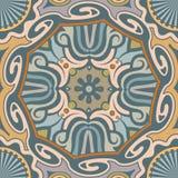 Nahtloses ethnisches Vektor-Muster mit gedrehten Formen und Streifen lizenzfreies stockfoto