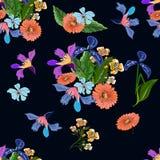 Nahtloses exotisches Blumenmuster auf Schwarzem Stockfotografie