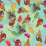 Nahtloses exotisches Muster mit Eiscreme Stockbilder
