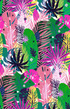 Nahtloses exotisches Muster mit gesprenkelten tropischen Palmblättern, Sommerhintergrund Botanische Illustration des Vektors, Des Stockfotos
