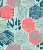 Nahtloses exotisches Muster mit Palmblättern auf geometrischem Hintergrund Stockbild