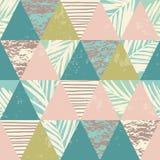 Nahtloses exotisches Muster mit tropischen Anlagen und geometrischem Hintergrund lizenzfreie abbildung