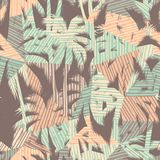 Nahtloses exotisches Muster mit tropischen Palmen und geometrischem Hintergrund Stockfotografie