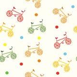 Nahtloses Fahrradkarikaturmuster Stockfotos
