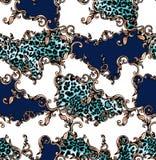Nahtloses farbiges Muster des Leoparden und Barock, Flecken f?r Druck stock abbildung