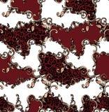 Nahtloses farbiges Muster des Leoparden und Barock, Flecken f?r Druck vektor abbildung