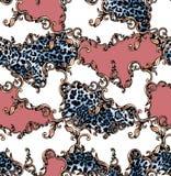 Nahtloses farbiges Muster des Leoparden und Barock, Flecken f?r Druck lizenzfreie abbildung
