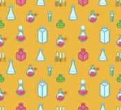 Nahtloses Farbmuster mit Apotheker und medizinischen Bechern, labo Stockbilder