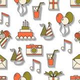 Nahtloses Feiertagsmuster, alles Gute zum Geburtstag, festlicher Hintergrund Stockfotos