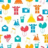 Nahtloses Feiertagsmuster, alles Gute zum Geburtstag, festlicher Hintergrund Stockfotografie
