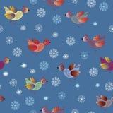 Nahtloses Feiertagsmuster mit Vögeln Stockfotos