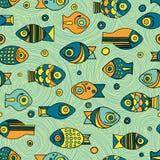 Nahtloses Fischmuster des Vektors Stockbild