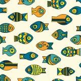 Nahtloses Fischmuster des Vektors Lizenzfreie Stockfotografie