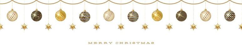 Nahtloses Fries mit Weihnachtsdekoration - kopierter Flitter mit goldenen Sternen lizenzfreie abbildung