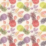 Nahtloses Frucht-Muster Bunte Ananas, Zweige auf einem hellen beige Hintergrund stock abbildung