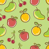 Nahtloses Frucht-Muster, orange heitre Mango des Apfels lizenzfreie stockbilder
