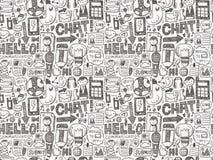 Nahtloses Gekritzel-Kommunikations-Muster Stockfotos