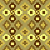 Nahtloses gelbes Braun der Musterpixelkunst Lizenzfreie Stockbilder