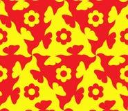 Nahtloses Gelbes des abstrakten, Blumenmusters und rot Das Muster ist von den wiederholenden Formen von verschiedenen Farben naht Stockbild