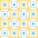 Nahtloses gelbes Muster mit Blumen in den Kreisen Stockfotos