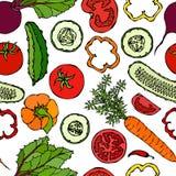 Nahtloses Gemüsemuster mit Gurken, rote Tomaten, grüner Pfeffer, rote Rübe, Karotte Frischer grüner Salat Gesunde vegetarische Na Lizenzfreie Stockbilder