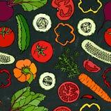 Nahtloses Gemüsemuster mit Gurken, rote Tomaten, grüner Pfeffer, rote Rübe, Karotte Frischer grüner Salat Gesunde vegetarische Na Lizenzfreie Stockfotografie