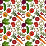 Nahtloses Gemüsemuster mit Gurken, rote Tomaten, grüner Pfeffer, rote Rübe, Karotte Frischer grüner Salat Gesunde vegetarische Na Stockfotografie