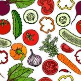Nahtloses Gemüsemuster mit Gurken, rote Tomaten, grüner Pfeffer, rote Rübe, Karotte, Zwiebel Frischer grüner Salat Gesunder Veget Stockbild