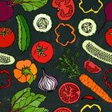 Nahtloses Gemüsemuster mit Gurken, rote Tomaten, grüner Pfeffer, rote Rübe, Karotte, Zwiebel Frischer grüner Salat Vegetarische N Lizenzfreie Stockbilder