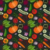 Nahtloses Gemüsemuster mit Gurken, rote Tomaten, grüner Pfeffer, rote Rübe, Karotte, Zwiebel, Knoblauch, Paprika, Pumpkine FoodHa Lizenzfreie Stockfotos