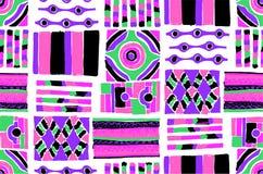Nahtloses geometrisches Muster in der aztekischen Art Stammes- ethnische Vektorbeschaffenheit afrikanisch Stockfoto