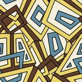 Nahtloses geometrisches Muster in der Weinleseart Für Mode Gewebe, Stoff, Hintergründe Kreise und Quadrate auf einem orange Hinte lizenzfreie abbildung