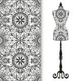 Nahtloses geometrisches Muster des Vektors mit Weinlese Stockfoto