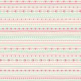 Nahtloses geometrisches Muster mit kleinem Herzen und Streifen Lizenzfreies Stockbild