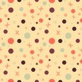 Nahtloses geometrisches Muster mit Kreisen der unterschiedlichen Größe und der Farbe Violett, rosa, tadellos und grün vektor abbildung